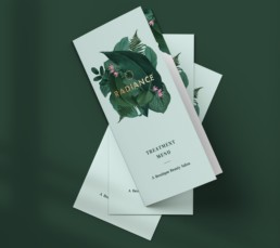 Radiance Beauty Salon London Brand design by Sophie Light – Menu design