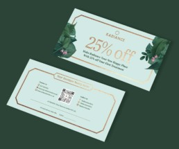 Radiance Beauty Salon London Brand design by Sophie Light – Gift voucher design